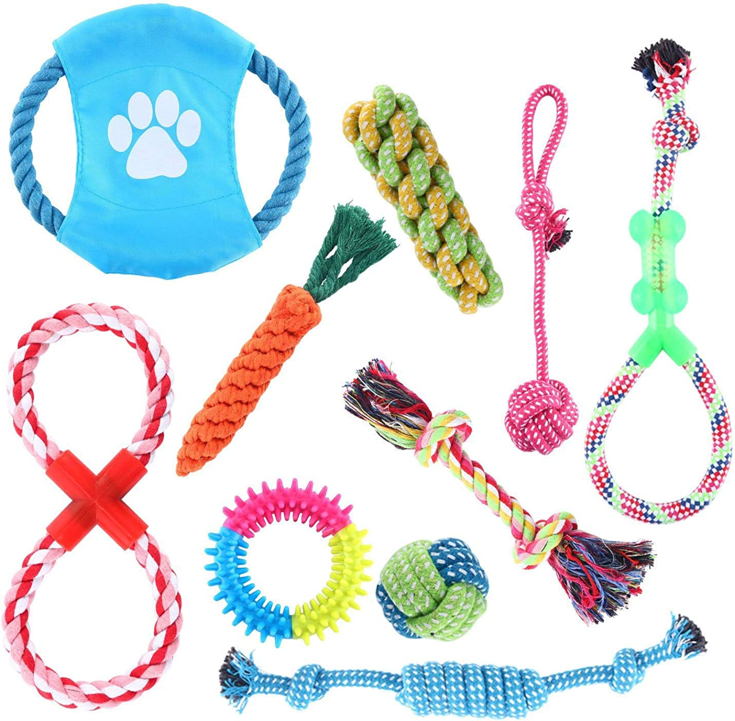 Homend Rope Toys Puppy Chew Toys Set of 10, Dog Cotton Rope Knot Toys and Dog Ball for Small Medium Large Breeds, Nature Teething Toy for Dental Health, StressFree Dog Training Gifts (Set of 10)