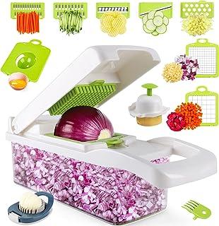 خردکن سبزی - خردکن پیاز ، 14PCS غذای حرفه ای سبزی خردکن ، برش ماندولین ، خردکن و خردکن سبزی آشپزخانه ، خردکن قابل تنظیم با ظرف ، خردکن سبزیجات