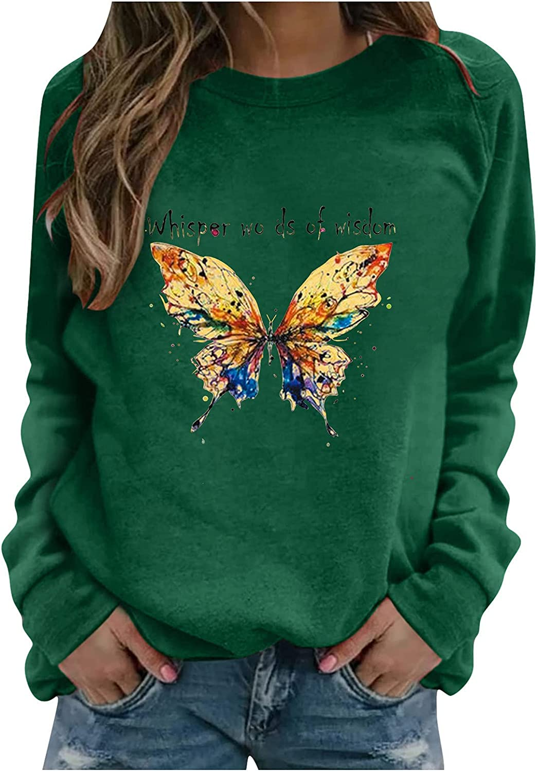 AODONG Womens Tops Comfy Casual T Shirts, Women Casual Long Sleeve Loose Fit Pullover Graphic Blouse Sweatshirt Tops