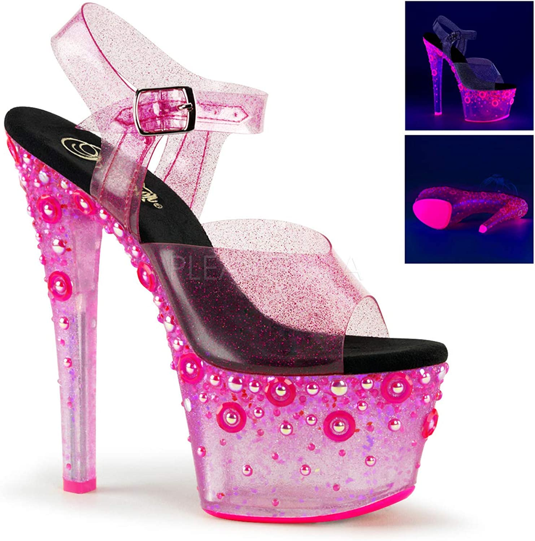Pleaser SKY-308UVMG Women's Platform Ankle Strap Sandal, color Pink Tinted TPU NEON Pink, Size 10