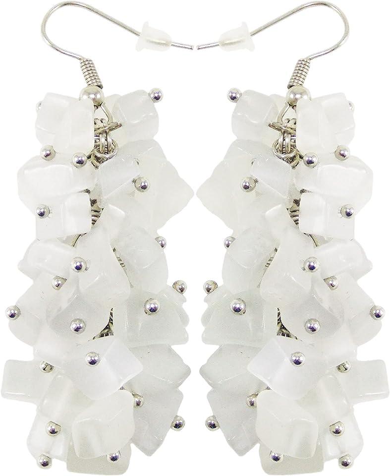 Handmade gemstone cluster earrings (Grey cat eyes)