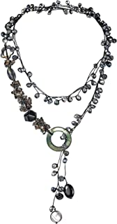 AeraVida Midnight Cultured FW Black Pearls-Reconstructed Black Agate-MOP On Cotton Rope Wrap Necklace