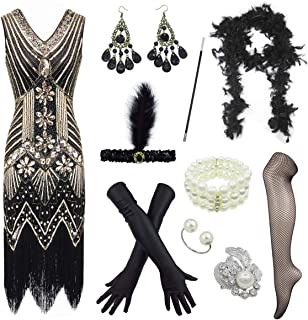 Women's 1920s V Neck Beaded Fringed Gatsby Theme Flapper Dress with Accessories Set