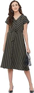 109 F Women's Cotton Olive Striped Dress