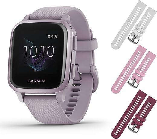 Garmin Venu Sq GPS Fitness Smartwatch and Included Wearable4U 3 Straps Bundle (White/Pink/Berry, Lavender/Purple 010-02427-02)