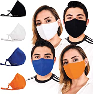 Face Mask for Protection with Built-In Filters; Washable, Reusable & Size-Adjustable (4 pcs value pack)