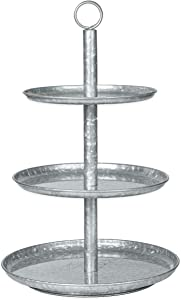 Ilyapa Galvanized Three Tier Serving Stand - 3 Tiered Metal Tray Platter for Cake, Dessert, Appetizers & More