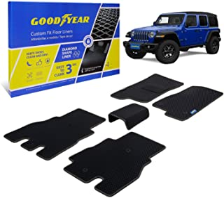 Goodyear Custom Fit Car Floor Liners for Jeep Wrangler 2018-2021, Black/Black 5 Pc. Set, All-Weather Diamond Shape Liner T...