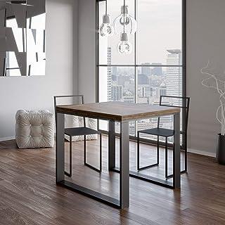 Itamoby, Table extensible Tecno Libre 120, panneaux de mélaminé, noyer & anthracite, L.120 H.80 P.90 (ouvert L.240 H.78 P.90)