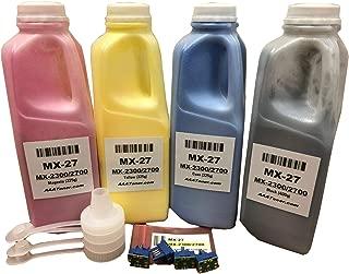 AAA Toner Refill Kit for Sharp MX-2300N, MX-2700N, MX-27 + 4 Chip (MX-27NT) (400g/325g, Black, Cyan, Magenta, Yellow)