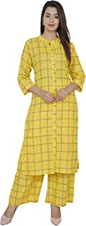 Antarmana Fashions Yellow Squre Cotton Kurti Palazzo Set for Women. PCS-16-M