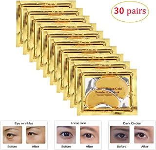Ruzzut 30 Pairs Gold Collagen Under Eye Mask Anti-Aging Hyaluronic Acid 24k Gold Eye Patches for Moisturizing & Reducing Dark Circles Puffiness Wrinkles, Luxury Gift for Women and Men (Gold)