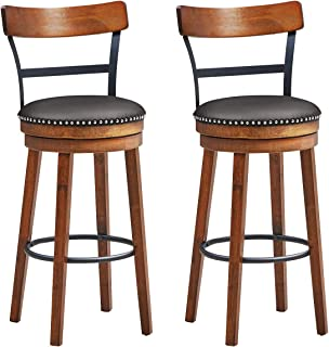 COSTWAY Bar Stools Set of 2, 360-Degree Swivel Stools with Leather Padded Seat, Single Slat Ladder Back & Solid Rubber Woo...