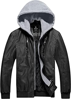 Men's Faux Leather Jacket Moto Hoodie Jacket PU Outwear Warm Jacket