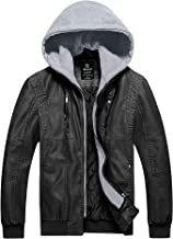 Wantdo Men's Faux Leather Jacket Moto Hoodie Jacket PU Outwear Warm Jacket