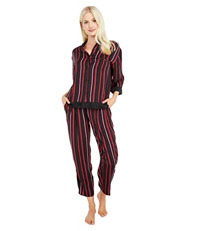 Donna Karan Sleepwear 3/4 Long PJ Set (Black Stripe) Women