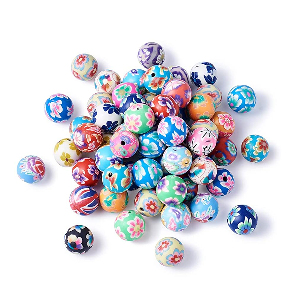 Pandahall 200pcs 0.47 Inch Assorted Colorful Fimo Polymer Clay Round Beads Bubblegum Ball Beads Charms Flower Printed for Jewelry Makings 12mm|15/32 Inch