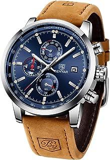 Montre Homme BENYAR Chronographe de Sport pour Hommes Bracelet en Cuir Cadran en Acier Inoxydable Date Analogique 30m Rési...