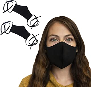2 Pack Cotton Face Mask with long tie behind Straps, USA Made, Dust Mask for Travel, Black