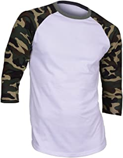 Hat and Beyond Mens Raglan 3/4 Sleeves T Shirts Slim Fit Plain Baseball Jersey