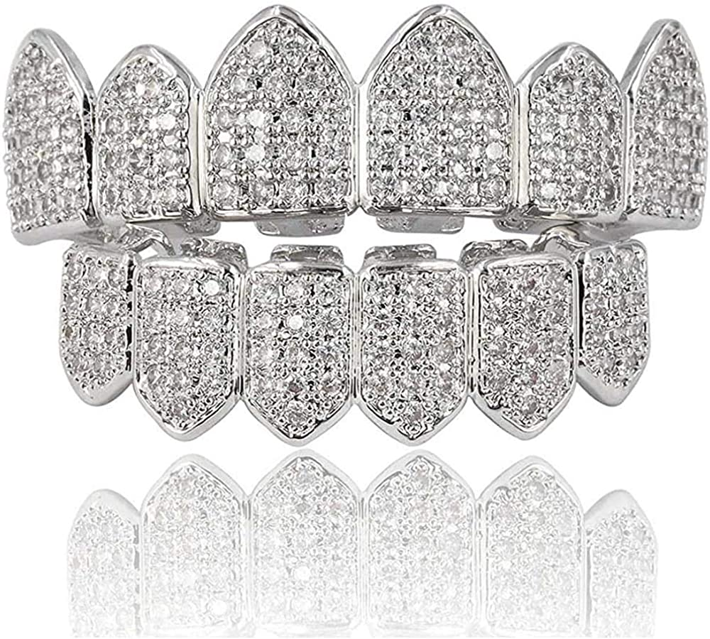 canjoyn 18K Gold Plated Macro Pave CZ Iced-Out Grillz with Molding Bars Included