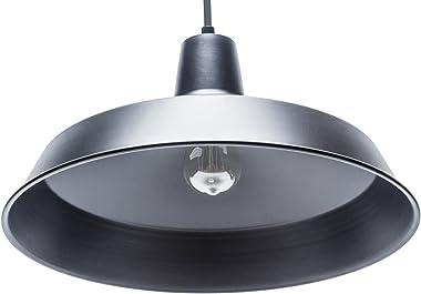 Globe Electric 65155 Barnyard 1-Light Industrial Warehouse Pendant, Matte Black