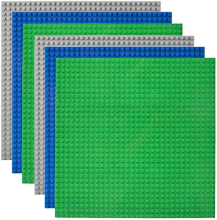 "Lekebaby Classic Baseplates Building Base Plates for Building Bricks 100% Compatible with Major Brands-Baseplates 10"" x 10"", Pack of 6"