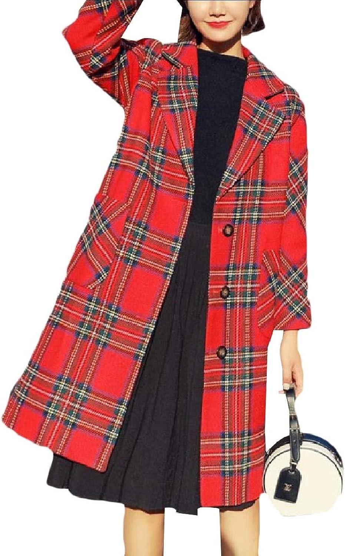 Baseby Women Warm Fleece British Style Classics Single Breasted Pea Coat