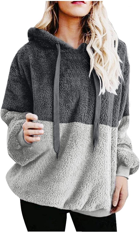 Hoodies for Women Aesthetic Color Block Splicing Drawstring Hood