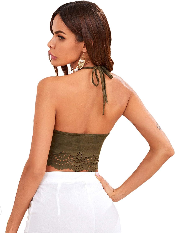Romwe Women's Summer Solid Halter Scallop Hollow Camis Crop Top Vest
