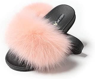 Women's Fox Fur Slides Furry Slide Sandal for Outdoor Fur Slippers