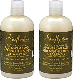 SheaMoisture Yucca & Plantain Anti-Breakage Strengthening Shampoo (Pack of 2) With Shea Butter, Aloe Leaf Juice and Coriander Extract, 13 fl. oz.