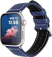 Fullmosa LC-Jan Cuero Correa, 7 Colores Correa Compatible Apple Watch/iWatch Series SE, Series 6, Series 5, Series 4, Series 3, Series 2, Series 1, 38mm, 42mm, Azul Oscuro 42mm