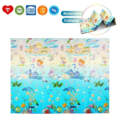AIMERDAY Baby Play Mat Folding Foam Playmat Ext...