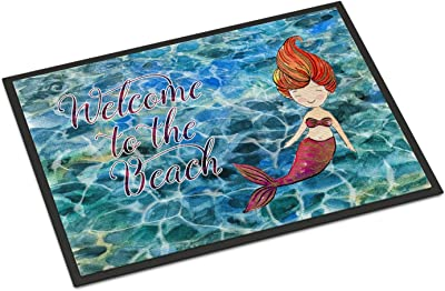 "Caroline's Treasures Mermaid Water Welcome Doormat, 24"" x 36"", Multicolor"