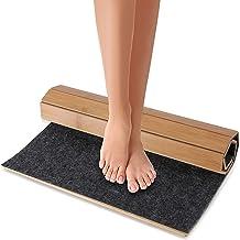 Bamboo Bath Mat Floor Rug - Waterproof and Weather Resistant Natural Wood Bathroom Shower Foot Carpet with Multi-Panel Str...