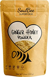 SoulBee Instant Ginger Tea with Honey - traditional medicinals sweet spicy fresh ginger root tea with honey powder - NO TEA BAGS NEEDED for healthy drink (Superfood)