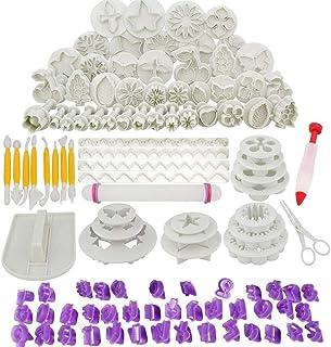 Abimars Lot de 110 Outils de Décoration de Gâteau, Ustensile Patisserie Professionnelle DIY Fondant Gâteau Décoration Cutt...