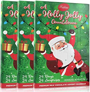 (3 Pack) Madelaine Chocolate A Holly Jolly 2019 Christmas Countdown Advent Calendar, Filled With (6oz - 170g) 24 Solid Premium Milk Chocolate Christmas Themed Holiday Surprises