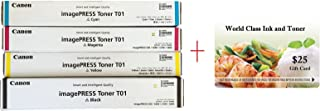 WCI© Best Value Pack® of All (4) Genuine Original Canon Brand T01 Toner Cartridges + a FREE $25 Restaurant Gift Card. (1 each of Black/Cyan/Magenta/Yellow Toners) for: Canon ImagePress C700/C800.