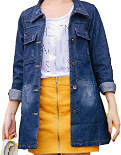 Huiwa Womens Denim Jacket Plus Size Solid Color Long Sleeve Loose Bomber Basic Coat