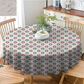 Jktown Christmas Tablecloth Spillproof Tablecloth,Christmas,Norwegian Rose,Party Decorations Table Cover Cloth Diameter 63