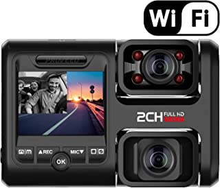 Pruveeo D30H Dash Cam with Infrared Night Vision and WiFi, Dual 1080P Front and Inside, Dash Camera for Cars Uber Truck Taxi
