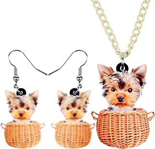 WEVENI Acrylic Yorkshire Terrier Dog Jewelry Set Pet Earrings Puppy Necklace Pendant Gifts for Women Girls Ladies