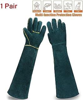 Best Sporting Style 23.6IN Animal Handling Gloves Bite Proof Kevlar Reinforced Leather Padding Dog,Cat Scratch,Bird Handling Falcon Gloves Grabbing,Reptile Squirrel Snake Bite,Dark Green Review
