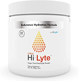 Hi-Lyte Electrolyte Powder | 500mg Potassium + 500mg Sodium from Sea Salt | Hydration & Stamina Booster | No Sugar, Carbs, Maltodextrin or Artificial Ingredients | Orange Citrus | 50 Servings