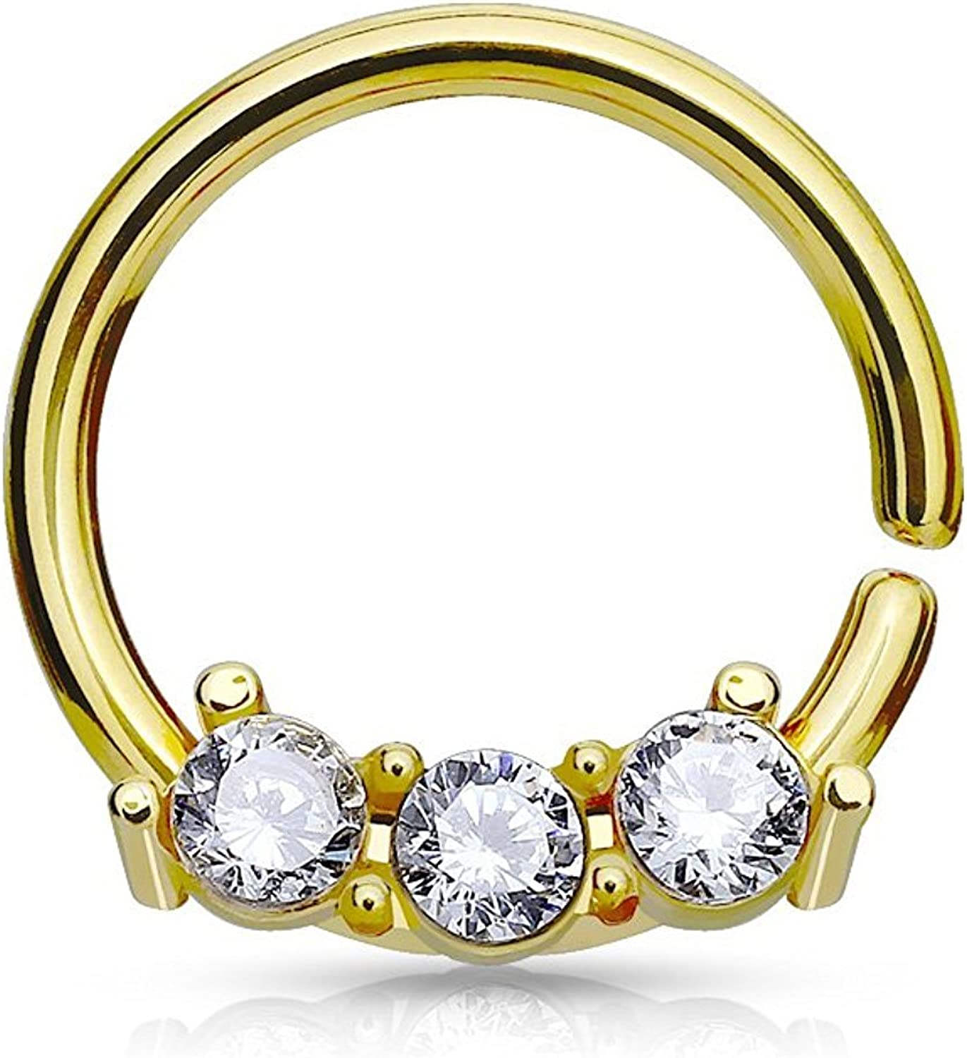 Covet Jewelry Surgical Steel bendable Septum Hoop Rings with Three CZ Set Bar
