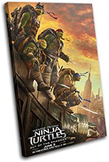 Bold Bloc Design - Ninja Turtles TMNT Poster Movie Greats 135x90cm SINGLE Canvas Art Print Box Framed Picture Wall Hanging - Hand Made In The UK - Framed And Ready To Hang