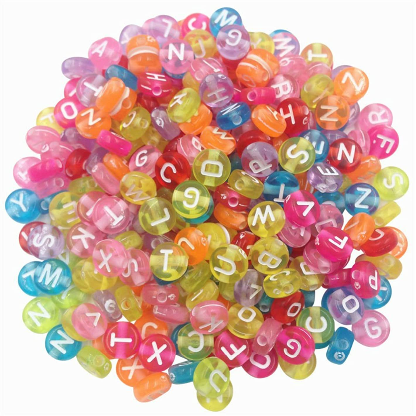AKOAK Pack of 200 Mixed 4 x 7 mm Round Candy Colors Acrylic Plastic Beads with White Letters/ Alphabet Letter