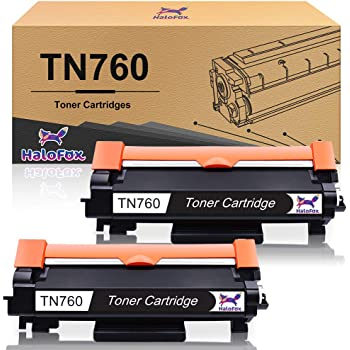 HaloFox Compatible Toner Cartridge Replacement for Brother TN760 TN-760 with Chip for Brother MFC-L2730DW DCP-L2550DW MFC-L2750DW TN730 TN-730 (Black, 2-Pack)